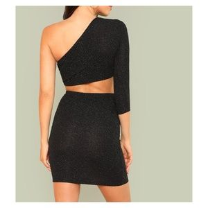 e3dbb277cd6015 MBM Unlimited Skirts - Black Glitter One Shoulder Crop Top Skirt Set